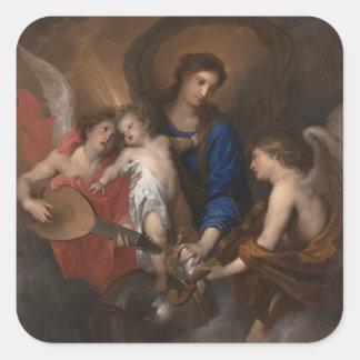Sticker Carré Vierge et enfant avec la musique faisant des anges