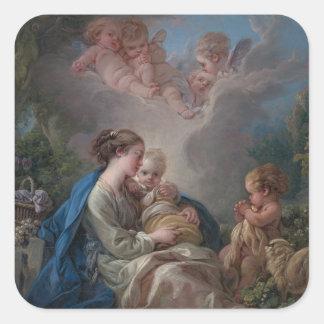 Sticker Carré Vierge et enfant avec le St John le baptiste