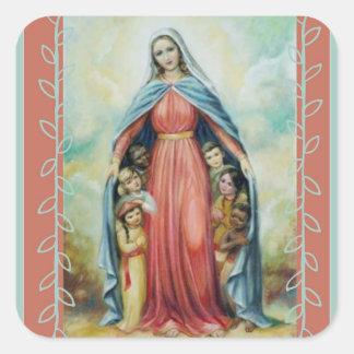 Sticker Carré Vierge Marie béni avec des enfants