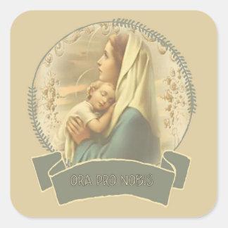 Sticker Carré Vierge Marie béni avec le bébé Jésus