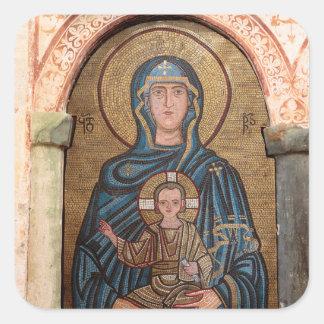 Sticker Carré Vierge Marie et mosaïque de Jésus