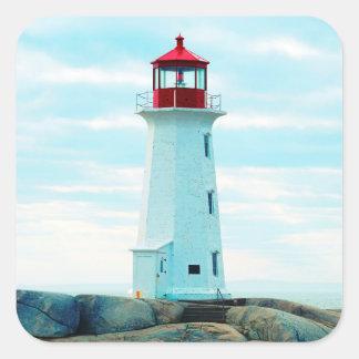 Sticker Carré Vieux phare, océan bleu, maritime, nautique