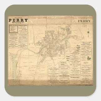 Sticker Carré Village de Perry, le comté de Wyoming, New York