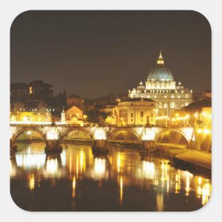 Sticker Carré Ville du Vatican, Rome, Italie la nuit