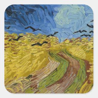 Sticker Carré Vincent van Gogh - champ de blé avec la peinture