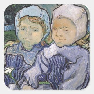 Sticker Carré Vincent van Gogh | deux petites filles, 1890