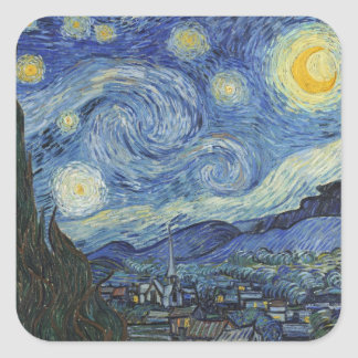 Sticker Carré Vincent van Gogh | la nuit étoilée, juin 1889