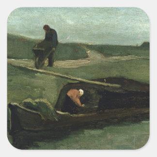 Sticker Carré Vincent van Gogh | le bateau de tourbe, 1883