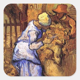 Sticker Carré Vincent van Gogh - les haveuses de moutons -