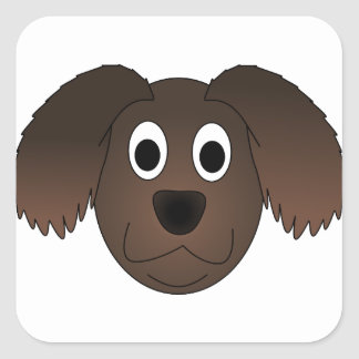 Sticker Carré Visage canin de chien de Brown
