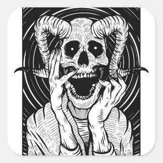 Sticker Carré visage de diable