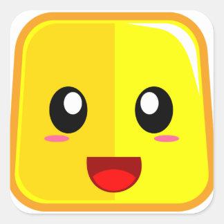 Sticker Carré Visage de sourire avec la bouche ouverte Emoji
