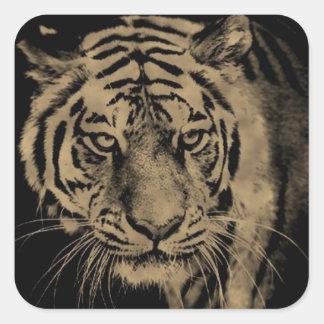 Sticker Carré Visage de tigre