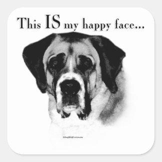 Sticker Carré Visage heureux de St Bernard