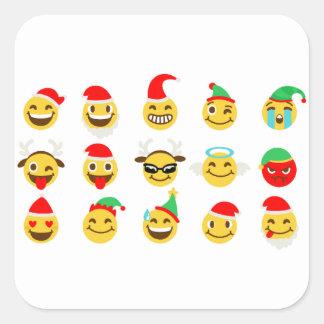 Sticker Carré visages heureux d'emoji de Noël