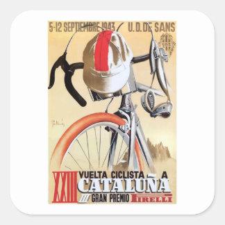 Sticker Carré Visite 1943 de l'Espagne d'affiche de course de