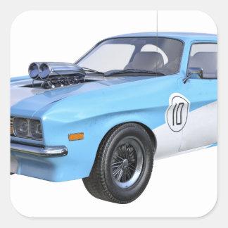 Sticker Carré voiture de muscle des années 70 dans bleu et blanc