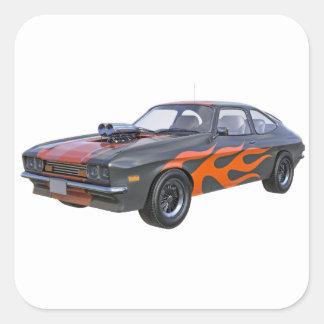 Sticker Carré voiture de muscle des années 70 dans les flammes