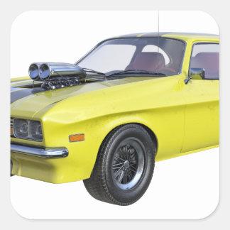 Sticker Carré voiture de muscle des années 70 en jaune et noir