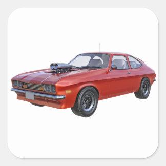 Sticker Carré voiture de muscle des années 70 en rouge