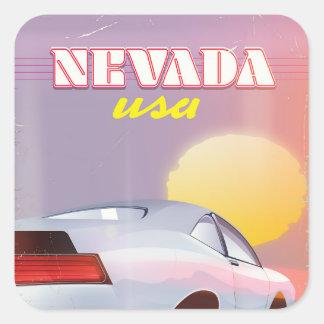 Sticker Carré Voiture de sport de coucher de soleil du Nevada
