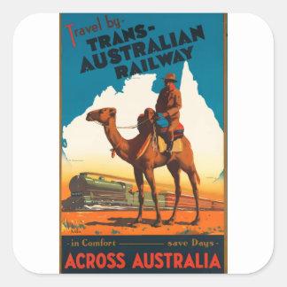 Sticker Carré Voyage vintage Australie
