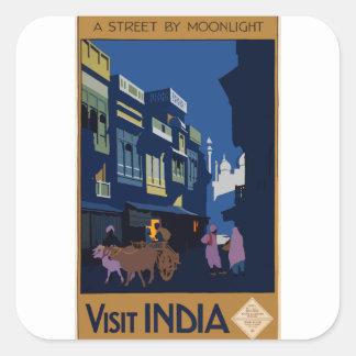 Sticker Carré Voyage vintage Inde une rue par clair de lune