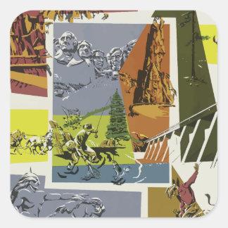 Sticker Carré Voyage vintage le Dakota du Sud Etats-Unis