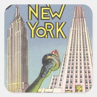 Sticker Carré Voyage vintage, points de repère célèbres de New