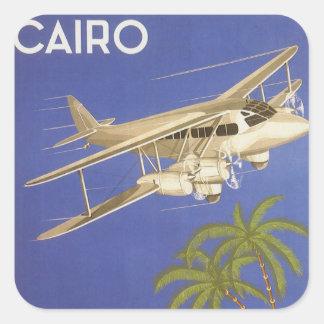 Sticker Carré Voyage vintage vers le Caire, Eygpt, avion de