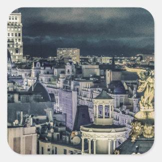 Sticker Carré Vue aérienne de scène de nuit de paysage urbain de