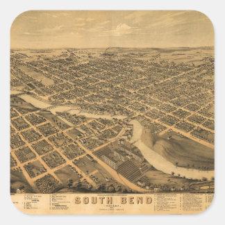 Sticker Carré Vue aérienne de South Bend, Indiana (1874)