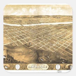 Sticker Carré Vue d'oeil d'oiseau de Lawrence, le Kansas (1869)