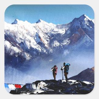 Sticker Carré Vue panoramique de montagne maximale d'Ama Dablam