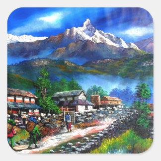Sticker Carré Vue panoramique de montagne Népal d'Everest
