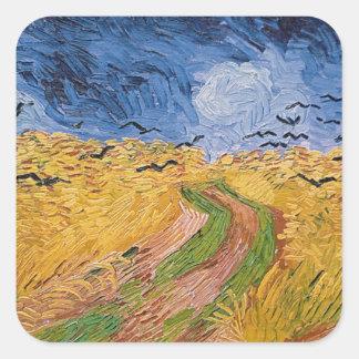 Sticker Carré Wheatfield de Vincent van Gogh | avec des