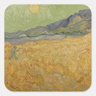 Sticker Carré Wheatfield de Vincent van Gogh | avec Reaper, 1889