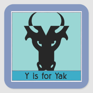 Sticker Carré Y est pour l'alphabet animal de yaks pour des