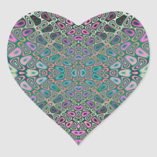 Sticker Cœur Abrégé sur multicolore fractale de papillon