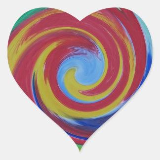 Sticker Cœur Abrégé sur rouge tordu remous