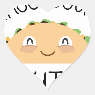 Sticker Cœur Accès de taco mignon