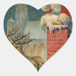Sticker Cœur Affiche 1906 clous de Père Noël de cru original