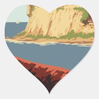 Sticker Cœur Affiche vintage Porto Rico de voyage