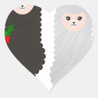 Sticker Cœur alpaga de renne de Noël