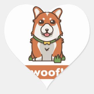 Sticker Cœur Amant mignon de chien de corgi de Gallois de