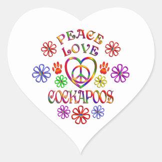 Sticker Cœur Amour Cockapoos de paix