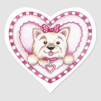 Sticker Cœur Amour de chiot