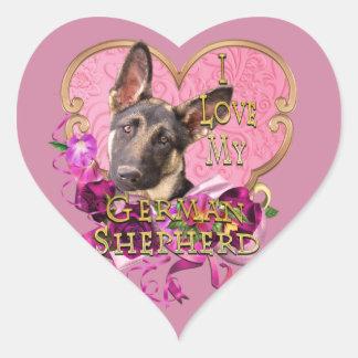 Sticker Cœur Amour de coeur de rose de berger allemand mon Shep