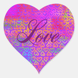 Sticker Cœur Amour de coeurs d'arc-en-ciel