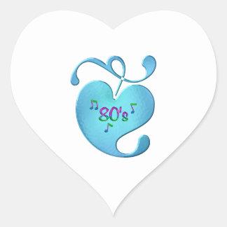 Sticker Cœur amour de la musique 80s